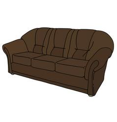 Dark leather sofa vector