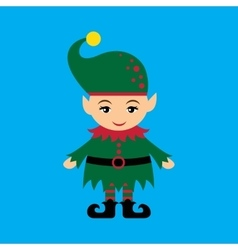 Flat icon on blue background christmas gnome vector
