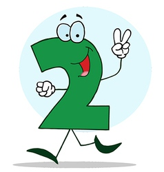 Funny cartoon friendly number 2 two guy vector