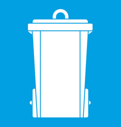 Garbage bin icon white vector