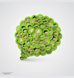 green speech bubble made of smiling faces vector image vector image