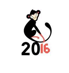 Happy New Year 2016 monkeys vector image