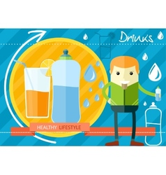 Healthy lifestyle drinks concept vector image