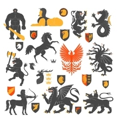 Heraldic animals and elements 2 vector
