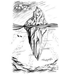 iceberg arctic landscape sketch vector image