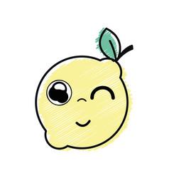 Kawaii nice funny lemon fruit vector