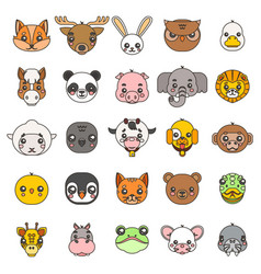 line art animals cute baby cartoon cubs flat vector image