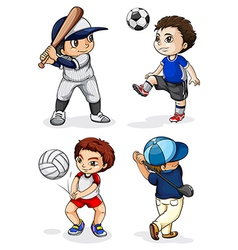 Male kids engaging in different activities vector image vector image