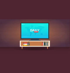 mass media daily news banner live tv show vector image