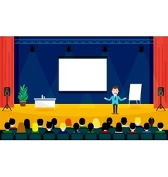 People sitting at the conference in flat style vector image vector image