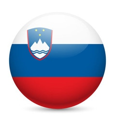 Round glossy icon of slovenia vector