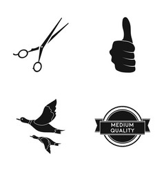 scissors thumb up and other web icon in black vector image