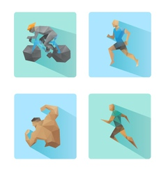 Set of flat design sport icons isolated vector image vector image