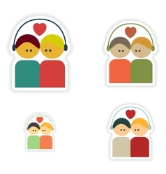 Set of paper stickers on white background couple vector image