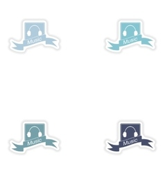 Set paper sticker on white background mobile phone vector