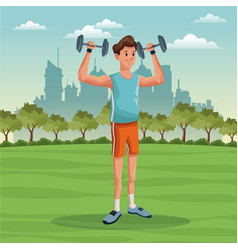 sport man lifestyle park city background vector image