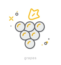Thin line icons Grapes vector image