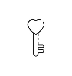 Thin line love key icon vector