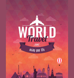 Travel composition with famous world landmarks and vector