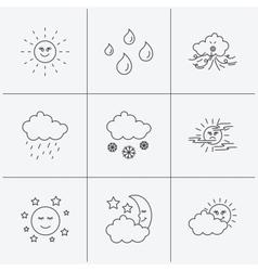 Weather sun and rain icons moon night vector
