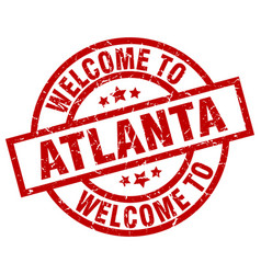 Welcome to atlanta red stamp vector