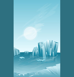 Winter landscape with iceberg vector