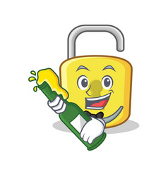 with beer yellow lock character mascot vector image