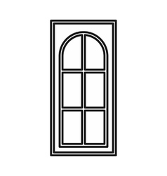 Wooden door with glass icon outline style vector