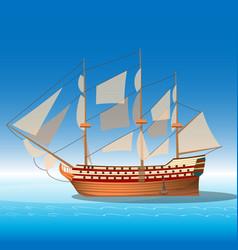 wooden ship in sea vector image