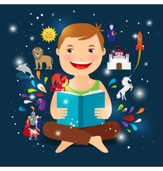 Cartoon kid reading fairy tale book vector