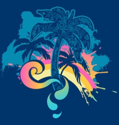 Palm tree splash vector