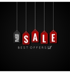 Black Friday sale tags on background vector image