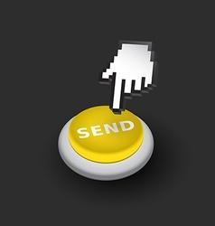 Yellow Send push button sign emblem Hand vector image