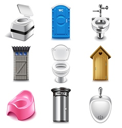 Different toilets icons set vector
