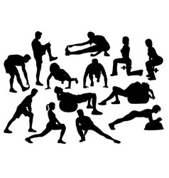 Stretching activity silhouette vector