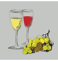 Grape and glass vector