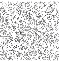 Seamless floral pattern black and white drawing vector