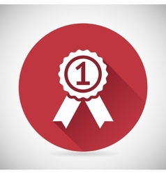 Victory prize award symbol badge with ribbons vector