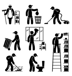 Peoples cleaning icons set vector