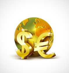 World economic concept with 3d gold world dollar vector