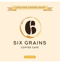 Logo for cafe coffee grains in the form of six vector