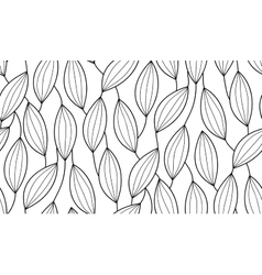 Seamless background of plants drawn lines vector