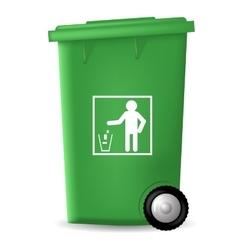 Green PlasticTrashcan vector image