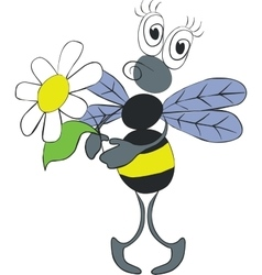 Bee with flower color 02 vector