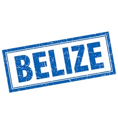 Belize blue square grunge stamp on white vector