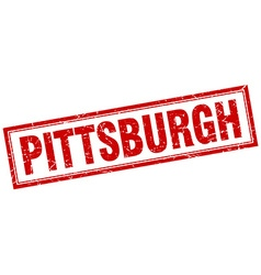 Pittsburgh red square grunge stamp on white vector