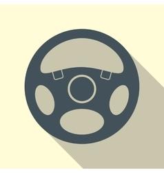 Car Steering Wheel Icon Flat Symbol vector image