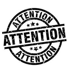 Attention round grunge black stamp vector