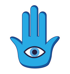 Blue palm with eye icon cartoon style vector