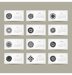 Calendar grid 2015 for your design ethnic ornament vector image